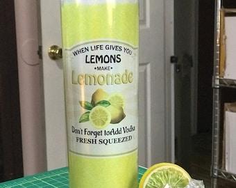 20oz. Glittery Lemonade tumbler, available Magnetic ice cube Lid, Life Gives you Lemons, Make Lemonade, ice cube topper, stainless straw