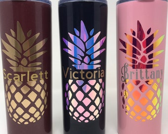 Personalized Pineapple, Tall Skinny 20oz Tumblers, under 15.00 dollars, 20oz Tall Skinny Stainless Steal tumbler with lid and straw ,