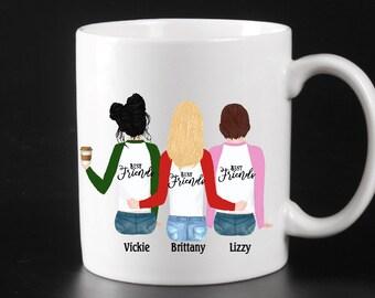 Best Friends Custom Mug, Personalized Bestie mug , Gift for your Best Friend, Personalized gifts under 15, Summer break bestie cup, under 15