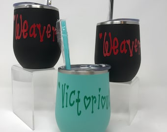 Custom Wine Tumbler, Wine Tumbler with Lid, Bridesmaid Wine Tumbler, Personalized Wine Glass, Insulated Stainless Steel Gift, Gift for Her