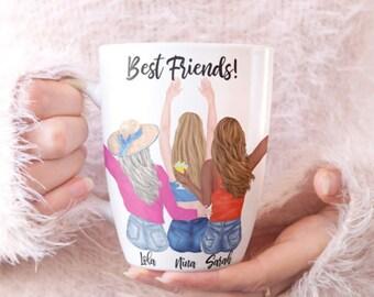 Best Friends Custom Mug, Personalized Girls Trip Mug , Gift for your Best Friend, Personalized gifts under 20, Besties at the Beach