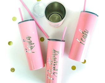 Personalized Tumbler Bridesmaid Gifts Bridesmaid Tumbler Custom Tumbler With Straw Bridesmaid Proposal Bachelorette Party Favors