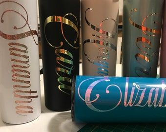 Personalized Tall Skinny 20oz Tumblers, Birthday Gifts under 15.00 dollars, 20oz Tall Skinny Stainless Steal tumbler with lid and straw ,