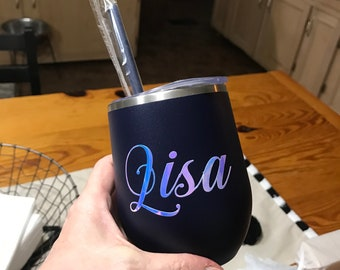 Personalized gifts for women, Stemless Steal Wine Tumblers, beautiful 12oz steel tumblers with lid and straw, Personalized Gifts Under 15.00