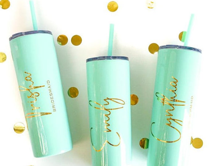 Personalized gifts, Tall Skinny Tumblers, Bridemaids Gift , beautiful 20oz Tall tumblers with lid and straw, Personalized Gifts Under 15.00