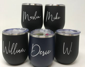 Personalized for Bridal Parties, Stemless Steal Wine Tumblers, 12oz steel tumblers with lid and straw, Personalized Gifts Under 15.00