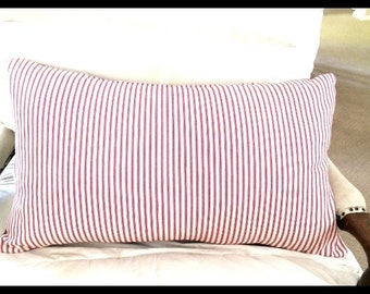 Red or Navy Ticking Pillow cover