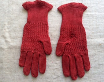 Victorian  Red Cotton Girl's Gloves