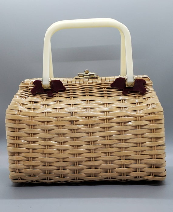 Vintage Wicker Lucite Handbag