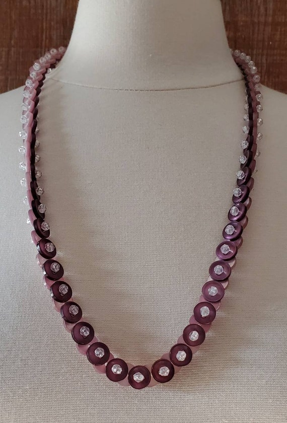 Vintage 1980s Button Purple Necklace - image 3