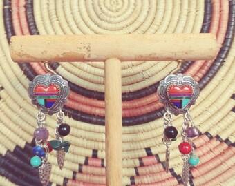 Southwestern Style Heart Earrings