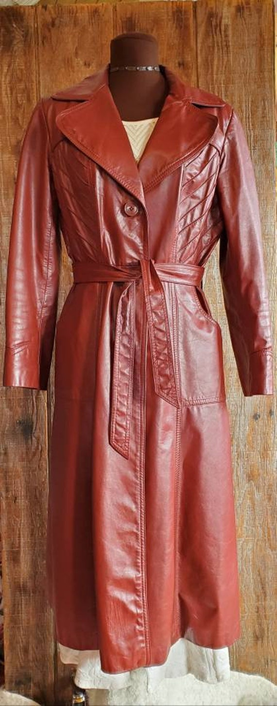 Vintage 70's Leather Trench Coat - image 3