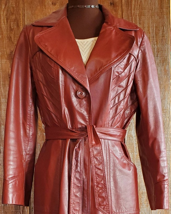 Vintage 70's Leather Trench Coat - image 2