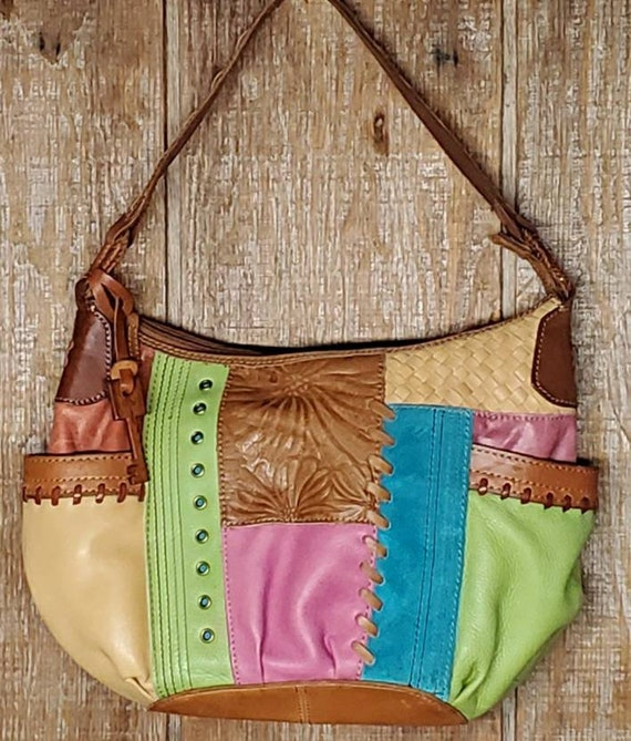 Vintage Fossil Leather Patchwork Purse