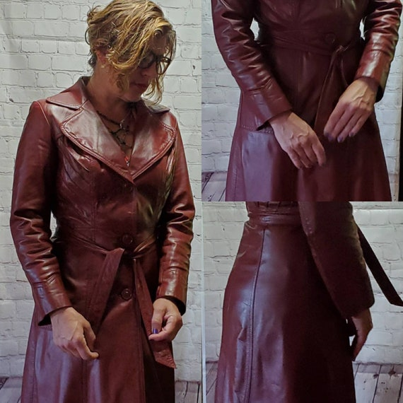 Vintage 70's Leather Trench Coat