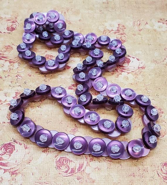 Vintage 1980s Button Purple Necklace - image 1