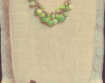 Green Crystal Charm Necklace