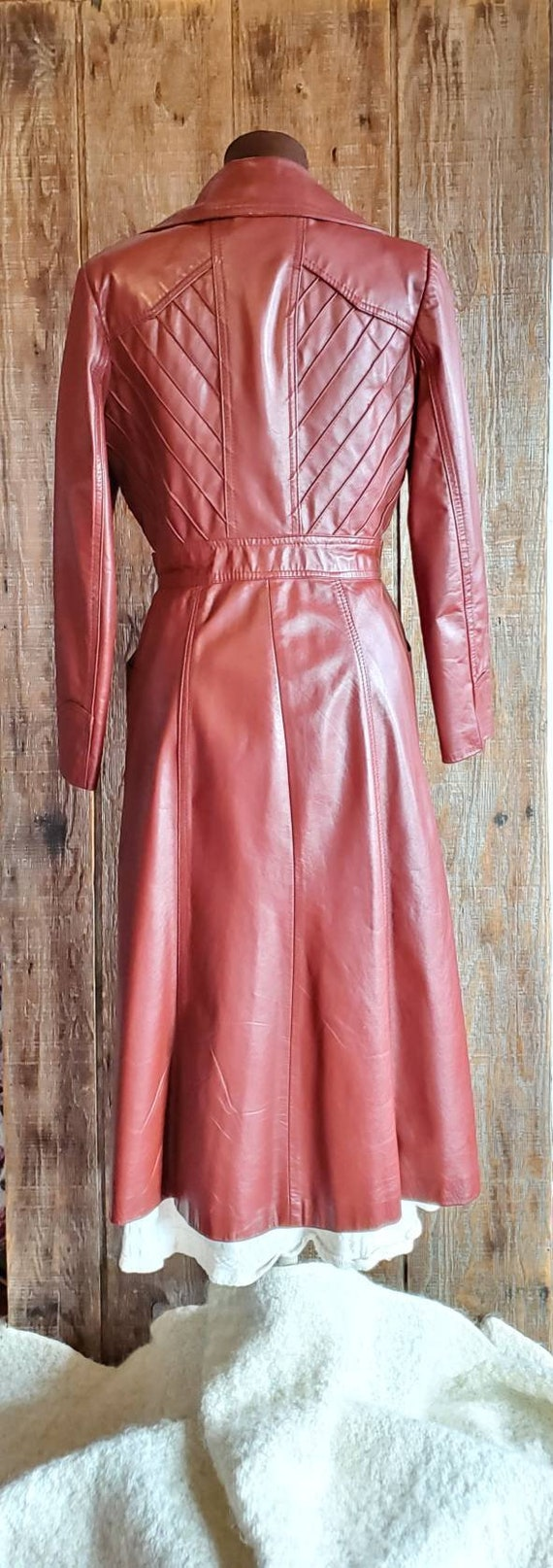 Vintage 70's Leather Trench Coat - image 5