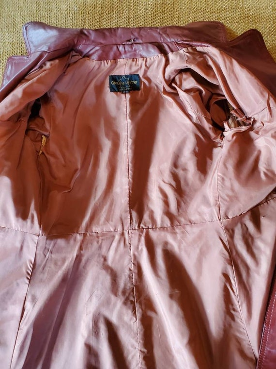 Vintage 70's Leather Trench Coat - image 7