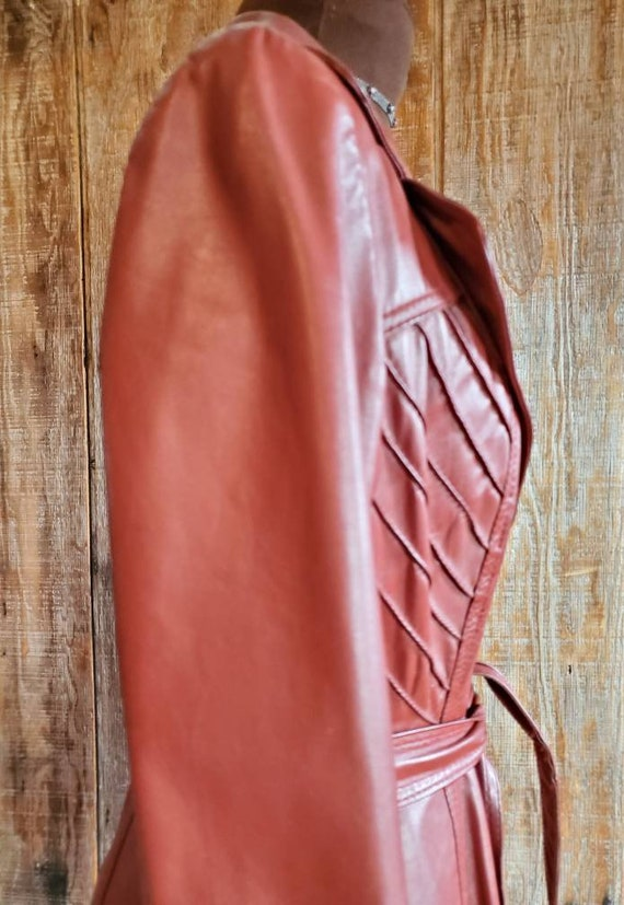 Vintage 70's Leather Trench Coat - image 4