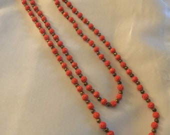 Beautiful Vintage Coral Hue Rosette Necklace