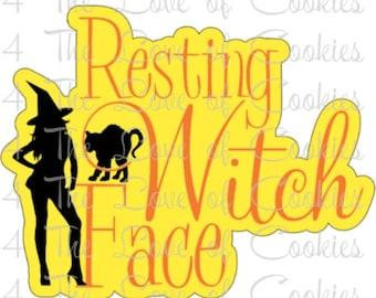 Halloween silkscreen, Resting Witch Face silkscreen, Resting witch face stencil, Halloween stencil, Halloween cookie cutter