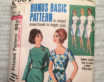 1960s 60s Sheath Dress Original Vintage Sewing Pattern Simplicity 5994 Bust 36