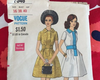 1960s 60s Original Vintage Sewing Pattern Mod One Piece Dress with Contrast Vogue 7546 Bust 38