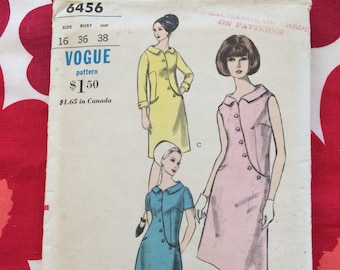 1960s 60s Original Vintage Sewing Pattern MOD Shift Dress Semi Fitted A-Line Vogue 6456 Bust 36