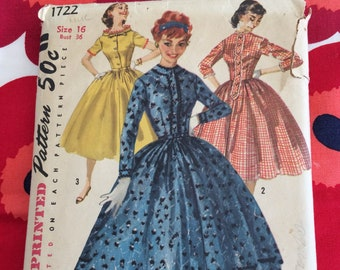 1950s 50s Original Vintage Sewing Pattern One Piece Dress Full Skirt Simplicity 1722 Bust 36