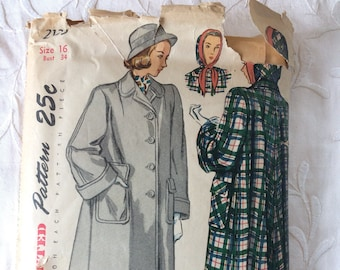 1940s 40s Original Vintage Sewing Pattern Loose Fitting Coat WW2 Simplicity 2135 Bust 34