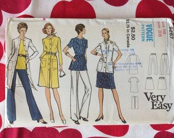 1960s 60s Original Vintage Sewing Pattern MOD Dress Jacket Blouse Pants Coordinates Separates Vogue 9267 Bust 38