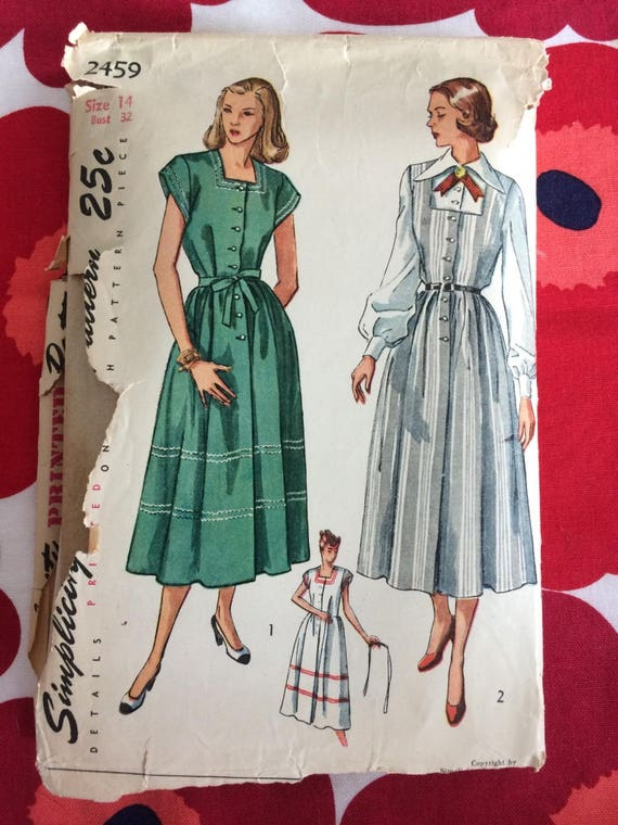 1940s 40s Vintage Sewing Pattern Maternity Dress Simplicity Etsy