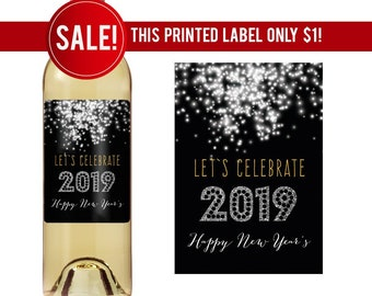 new years wine label personalized wine labels holiday wine labels new years party new year 2019 hostess gift 2019 wine label