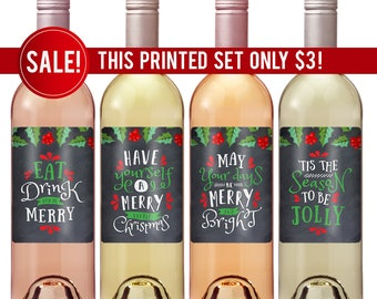 Holiday Wine Labels Etsy