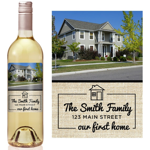 9a363ce73d1 Housewarming Gift - Personalized Wine Label - Personalized Housewarming  Gift - Housewarming Gift Basket - Housewarming New Home