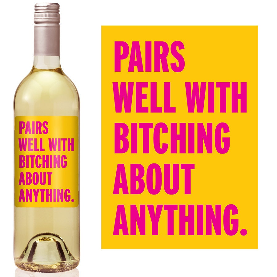 Funny Wine Label Custom Wine Bottle Labels Personalized | Etsy