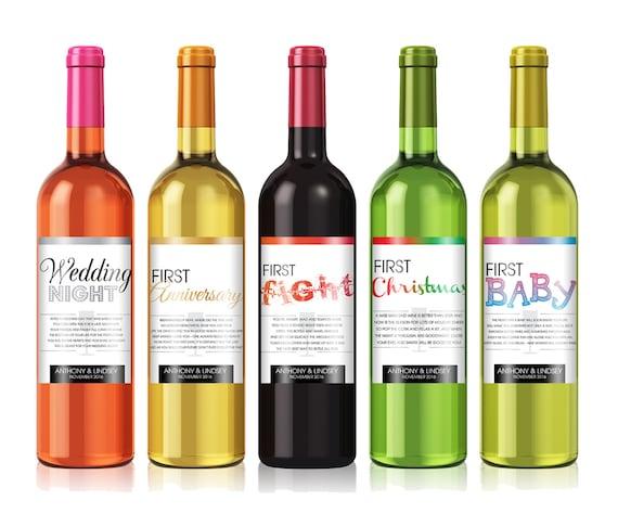 Bridal Shower Wine Poem Wedding Firsts Wine Gift Sets Etsy