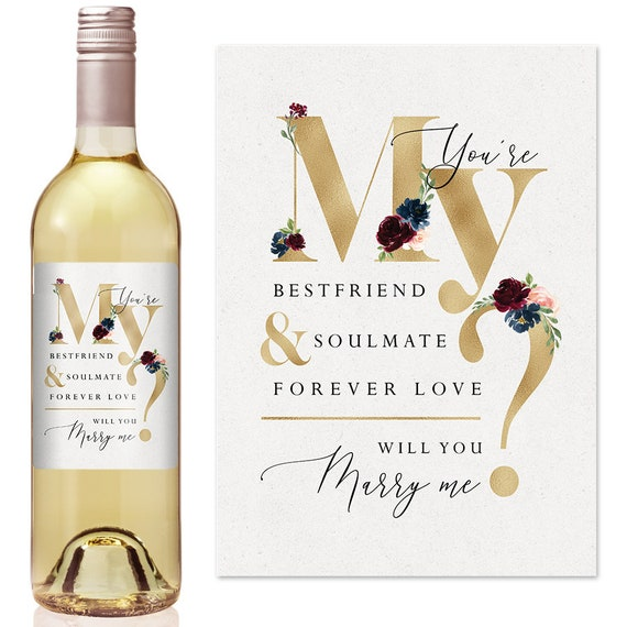 will you marry me bottle Personalised Champagne wine label Proposal idea