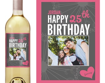 Birthday Wine Label - Personalized Wine Label - Custom Wine Label - Photo Wine Label - Milestone Birthday