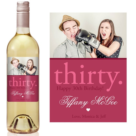 Birthday Gift Custom Wine Label 30th