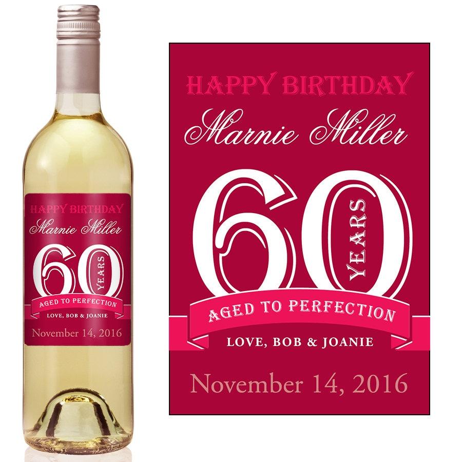 60th Birthday Wine Label Personalized Wine Label Custom | Etsy