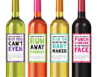 Cheer Up Wine Label Set - Personalized Wine Label - Custom Wine Label - Funny Wine Labels - Funny Birthday Gift - Just Because