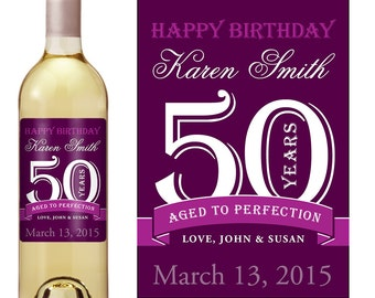 50th Birthday Wine Label - Personalized Wine Label - Custom Wine Label - Milestone Birthday - Adult Birthday