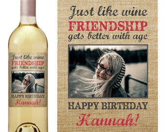 Birthday Gift - Birthday Wine Label - Personalized Wine Label - Custom Wine Label - Personalized Wine Label - Photo Wine Label