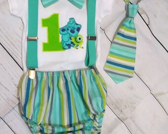 c7636d045 Monsters Inc smash cake outfit,Monsters Inc birthday outfit,Sulley and Mike  onesie,Monsters Inc party,Monsters Inc First Birthday, Embroider