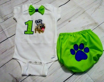 Puppy Dog Pals smash cake outfit,Puppy Dog Pals birthday outfit,Embr Puppy Dog Pals onesie,Puppy dog pal party,Puppy dog pals First Birthday