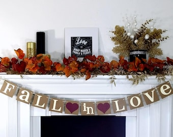 """Wedding Banner- """"Fall In Love"""" Banner - Bridal Shower Decorations - Wedding Garland - Sign - Photo Prop - Fall in Love Couples Shower"""