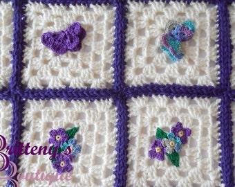 Crochet Baby Blanket  Crochet Flower Baby Blanket  Crochet Butterfly Baby Blanket  Crochet Butterflies Baby Blanket  Flower Baby Blanket