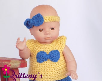 Baby Doll Clothes  Crochet Baby Doll Clothes Set Crochet Baby Doll Golden Yellow Shirt Denim Skirt Booties Headband Baby Doll Clothing
